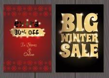 Set plakaty lub ulotki dla bożych narodzeń, nowy rok promocje i sprzedaże i Zdjęcia Stock