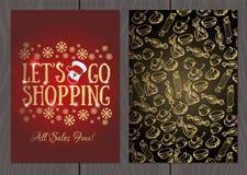 Set plakaty lub ulotki dla bożych narodzeń, nowy rok promocje i sprzedaże i Zdjęcie Royalty Free