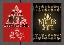 Set plakaty lub ulotki dla bożych narodzeń, nowy rok promocje i sprzedaże i Obraz Royalty Free
