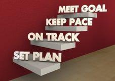 Set Plan Work On Track Keep Pace Meet Goal Steps. 3d Illustration Royalty Free Stock Photos