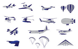 Set of Plane Helicopter and Air Transportation Stock Image