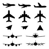 Set of plane icons. Jet airplanes, paper wings. Personal and charter jetliner. Cargo and passenger airliner. Propeller jet Stock Photography