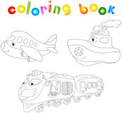 Set of plane, ship and train. Coloring book for children about t Stock Image
