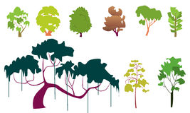 Set of plane trees Stock Image