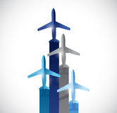 Set of planes flying to the top. illustration Royalty Free Stock Photography
