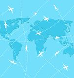 Set planes on map background Stock Images