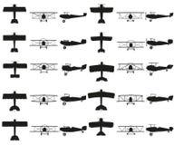 Set planes Vector black icon on white. Royalty Free Stock Photos