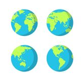 Set of planet Earth icons with different continents positions. Set of planet Earth icons with different continents positions Stock Photo