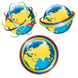 Set of planet Earth in Olympic rings Royalty Free Stock Photo