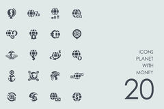 Set of planet with money icons. Planet with money vector set of modern simple icons Stock Photo