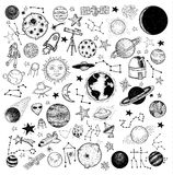 Set of planets icon, hand drawn vector illustration Stock Photos