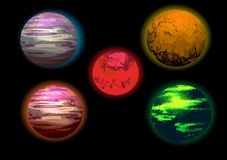 Set of planets illustration Royalty Free Stock Photography