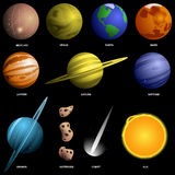 Set of planets - not to scale Stock Image