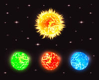 Set of planets in outer space with stars Royalty Free Stock Photo