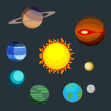 Set the planets of the solar system. Earth, Mars, Pluto, Neptune, Saturn, Uranus around the large star. Vector Royalty Free Stock Photo