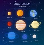 Set of Planets of Solar System. Vector Illustration. Flat Style. Graphic Design for Education Classes, Planetarium, Flyers, Banners, Cards Stock Photos