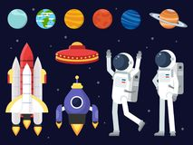 Set of planets, space shuttles and astronauts in flat style stock illustration