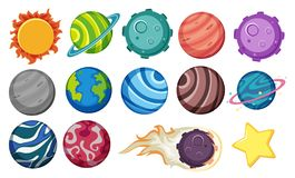 Set of planets and star stock illustration
