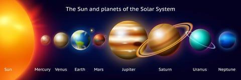 Set planety układ słoneczny Milky sposób Realistyczna wektorowa ilustracja Przestrzeń i astronomia nieskończony wszechświat royalty ilustracja