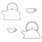 Set the planimetric tea Royalty Free Stock Images