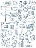 Set planista ikony doodles R?ka rysuj?ca kre?l?c? r?wnie? zwr?ci? corel ilustracji wektora royalty ilustracja