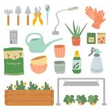 Set of plant care tool stock illustration