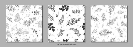 Set of seamless patterns in trendy doodle style. Vector backgrounds  with hand drawn plants and leaves. Abstract natural elements.