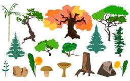 Set plants trees, fungi and stones Royalty Free Stock Photo