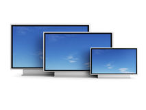 Set of plasma tv Royalty Free Stock Photography