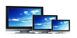 Set of Plasma TV. 3d rendering plasma TV on white background Royalty Free Stock Photos