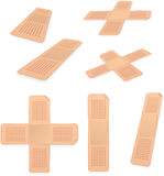 Set with plasters. Set with many different forms of plasters Stock Photography