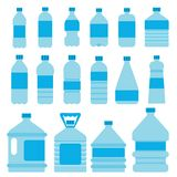 Set of plastic bottles for water. Vector pictures in flat style. Container plastic water with water beverage, fresh and clean illustration stock illustration