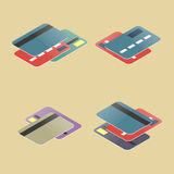Set of plastic cards, vector illustration. Set of plastic cards in different projections. Financial icons isometric style, vector illustration Stock Photo