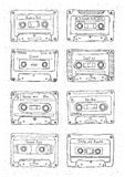 Set of plastic cassette, audio tape with different music. Hand drawn retro illustration. Stock Photo