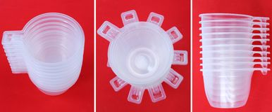 Set of plastic coffee cups. Set of empty plastic coffee cup on red background Stock Photos