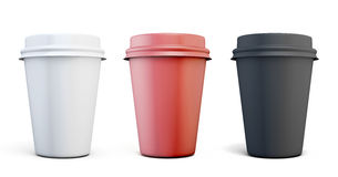 Set of plastic coffee cups of different colors Royalty Free Stock Photo