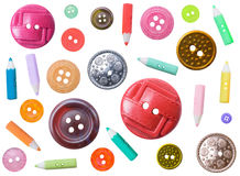 Set of plastic color different buttons isolated Royalty Free Stock Photo