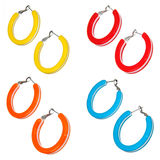 Set of plastic colorful earrings Stock Photography