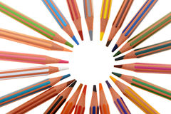 Set of plastic colour pencils located on a circle Stock Images