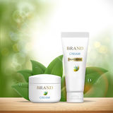 Set of plastic containers with cosmetic cream. Skin Care ads tem Royalty Free Stock Photo
