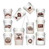 Set plastic cups with chocolate labels stock illustration