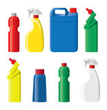 Set of plastic detergent bottles Royalty Free Stock Photos