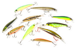 Set of plastic fishing baits Stock Photos