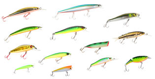 Set of plastic fishing lures Royalty Free Stock Photography