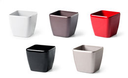 Set of plastic flowerpots for indoor plants Royalty Free Stock Photo