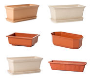 Set of plastic flowerpots for indoor plants Royalty Free Stock Photography