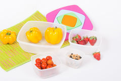 Set of plastic food containers Royalty Free Stock Photo