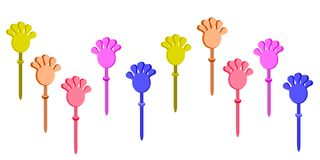 Set of Plastic Hand Clap Toys on White Background Royalty Free Stock Image