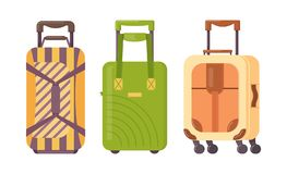 Set of plastic, metal and leather suitcases, luggage cases. Plastic, metal and leather suitcases, bags for luggage cases set. Travel suitcases on wheels with stock illustration