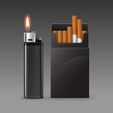 Set Plastic Metal Lighter with Flame and Pack of Cigarettes Royalty Free Stock Images